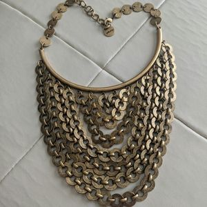 Stella and Dot statement brass rings necklace